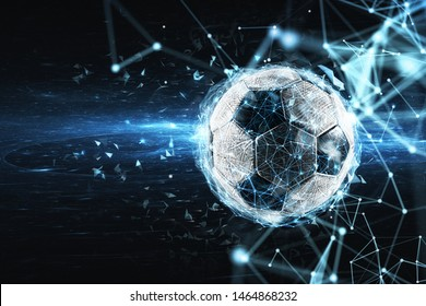 Soccer ball with internet network effect. Concept of digital bet