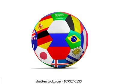 Soccer ball isolated with a lot of flag on white