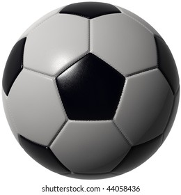 Soccer ball isolated over white. Hi-res, hi-quality 3D render with seams and leather structure. Includes path to use as alpha channel.