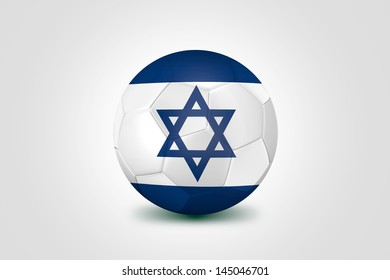 Soccer ball with Israel flag isolated on white