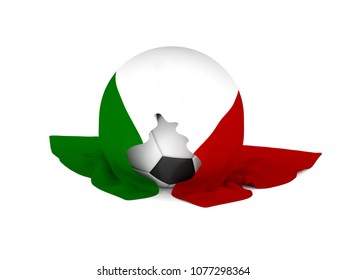 Soccer ball with the Italian flag, soccer championship concept 3d rendering
