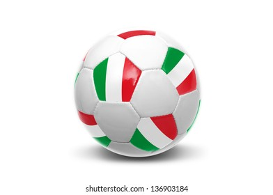 Soccer ball with Italian flag isolated in white