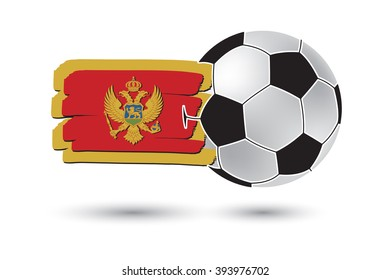 Soccer ball and Montenegro Flag with colored hand drawn lines