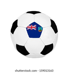 Soccer ball with Montserrat flag on the surface isolated on white background