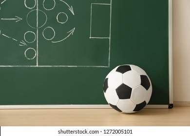 Soccer ball near chalkboard with football game scheme on table