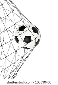 soccer ball in the net gate on a white background