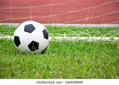 Soccer ball in a net and green background