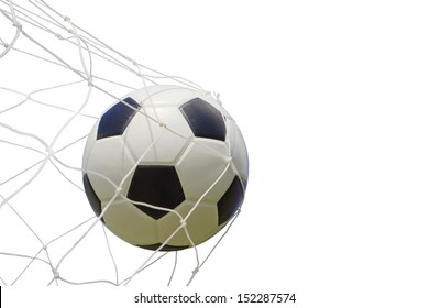 soccer ball in net on white, with clipping path