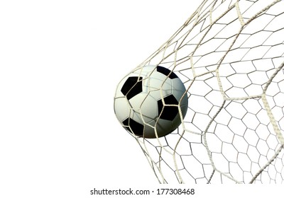 soccer ball in the net on a white background 90bf3119d