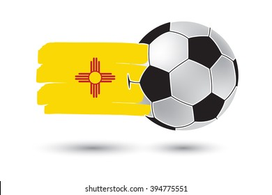 Soccer ball and New Mexico State Flag with colored hand drawn lines