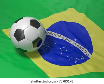 soccer ball on a Brazilian flag