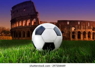 Soccer ball on the Colosseum