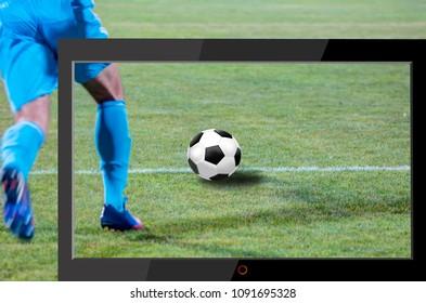 Soccer ball on soccer field - Flat screen tv