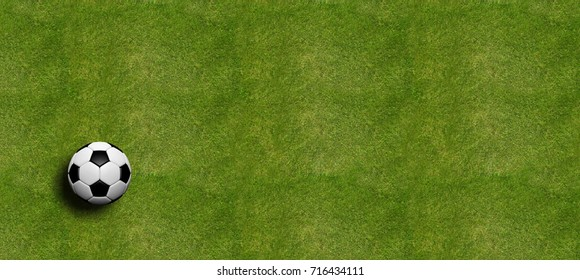 Soccer ball on field grass background, top view. 3d illustration