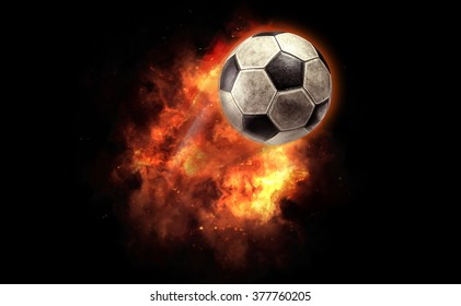 Soccer ball on a fire bomb explosion.