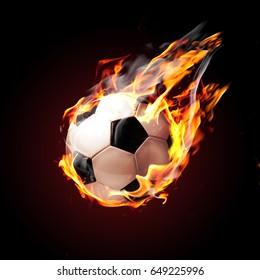 Soccer ball on fire flying on black background