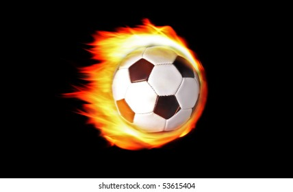 Soccer ball on fire isolated on black background