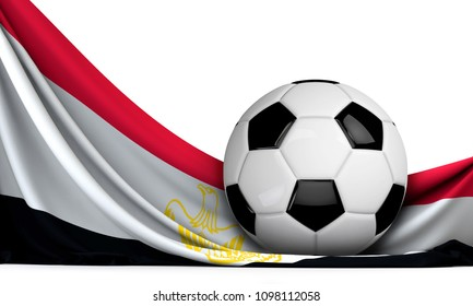 Soccer ball on the flag of Egypt. Football background. 3D Rendering