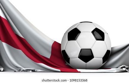 Soccer ball on the flag of England. Football background. 3D Rendering