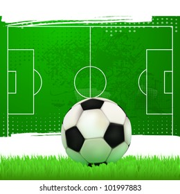 Soccer ball on the football field with green grass