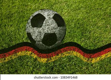 Soccer ball on a german flag (illustration)