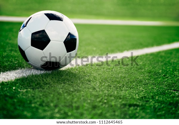 Soccer ball on the green glass with white line