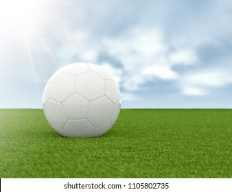 Soccer ball on green grass and blue sky background. 3d render