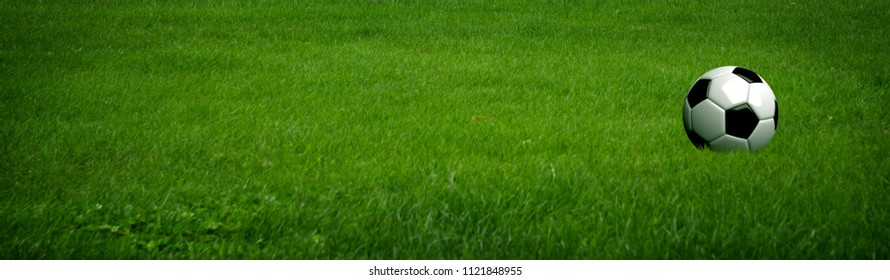 Soccer ball on green grass of a football field.