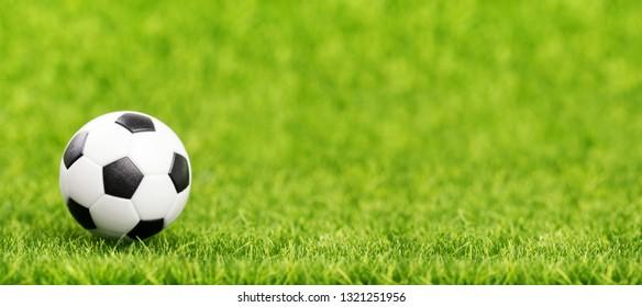 Soccer ball on green grass field closeup