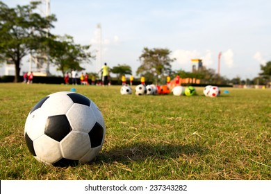 soccer ball on green grass and children training academy, youth soccer center.