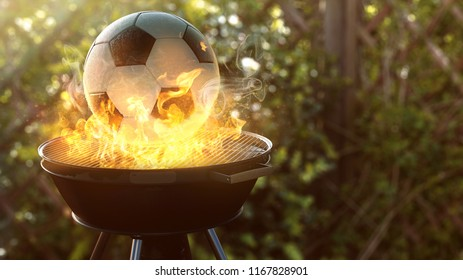 Soccer ball on the grill