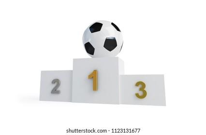 soccer ball on a pedestal on a white background 3D illustration, 3D rendering