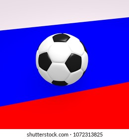 Soccer ball on the Russian flag, 3d rendering