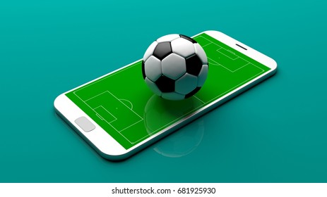 Soccer ball on a smartphone screen on green background. 3d illustration