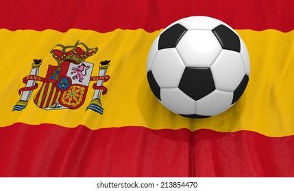 Soccer ball on the spain flag