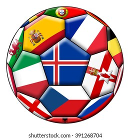 Soccer ball on a white background with flags of European countries