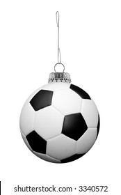 soccer ball ornament on a metal hook isolated over white