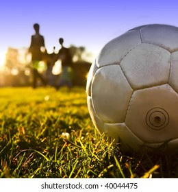 Soccer ball with people silhouette background 05