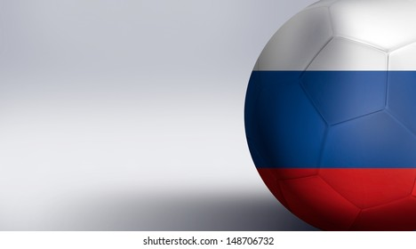 Soccer ball with Russia flag isolated on white