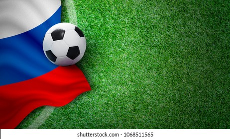 Soccer ball and russia flag on green grass in stadium with copy space