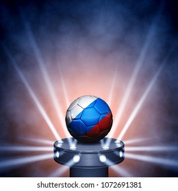 Soccer ball with the russian flag colors on display with spotlights , Football tournament, 3d illustration