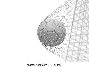 Soccer ball scores a goal in a net