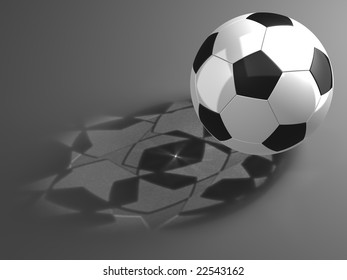 Soccer ball with shadows of the stars