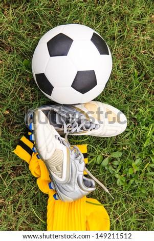 258e462e2 Soccer Ball Soccer Shoes On Field Stock Photo (Edit Now) 149211512 ...