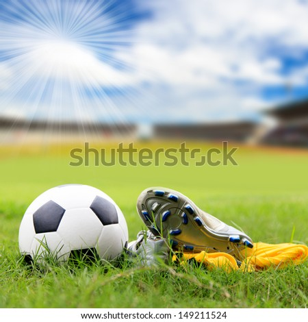 b7b73c235 Soccer Ball Soccer Shoes On Field Stock Photo (Edit Now) 149211524 ...