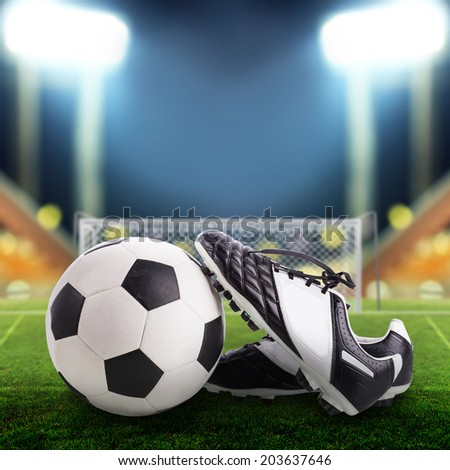 5ed15109e Soccer Ball Soccer Shoes On Field Stock Photo (Edit Now) 203637646 ...