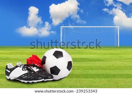4bddca28c Soccer Ball Soccer Shoes On Soccer Stock Photo (Edit Now) 239253343 ...