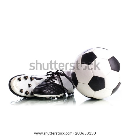 eeb849ade Soccer Ball Soccer Shoes On White Stock Photo (Edit Now) 203653150 ...