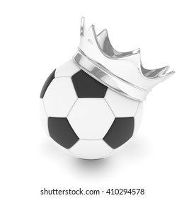 Soccer ball with silver crown on white background. 3D rendering.