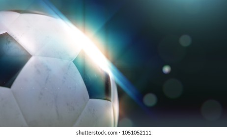 soccer ball slowly flying through the water drops with glint , 3d illustration
